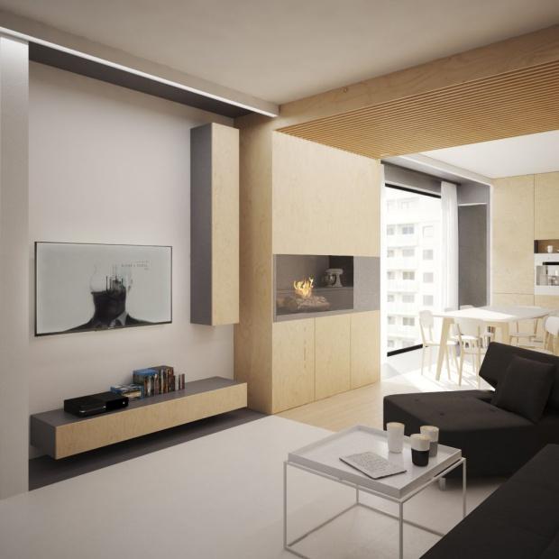 Nowoczesne wnętrze: modne mieszkanie w drewnie i bieli