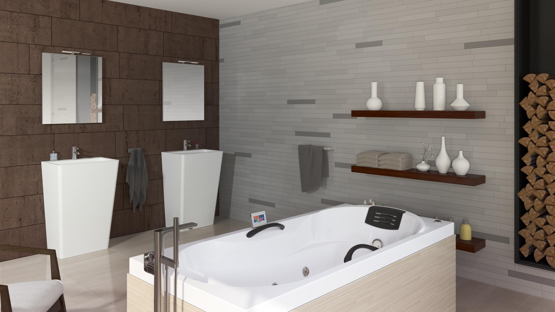Wanna z hydromasażem DANA (z serii Thermae Line) świetnie się sprawdzi w łazienkach w skandynawskim stylu. W aranżacji na zdjęciu zestawiono ją z naturalnymi, spokojnymi kolorami - beżami i brązami. Fot. Riho.