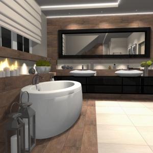 Projekt łazienki autorstwa Ilony Budzickiej-Podsiadło z pracowni Black Kajman Design.