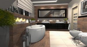 Projekt łazienki autorstwaIlony Budzickiej-Podsiadło z pracowniBlack Kajman Design.