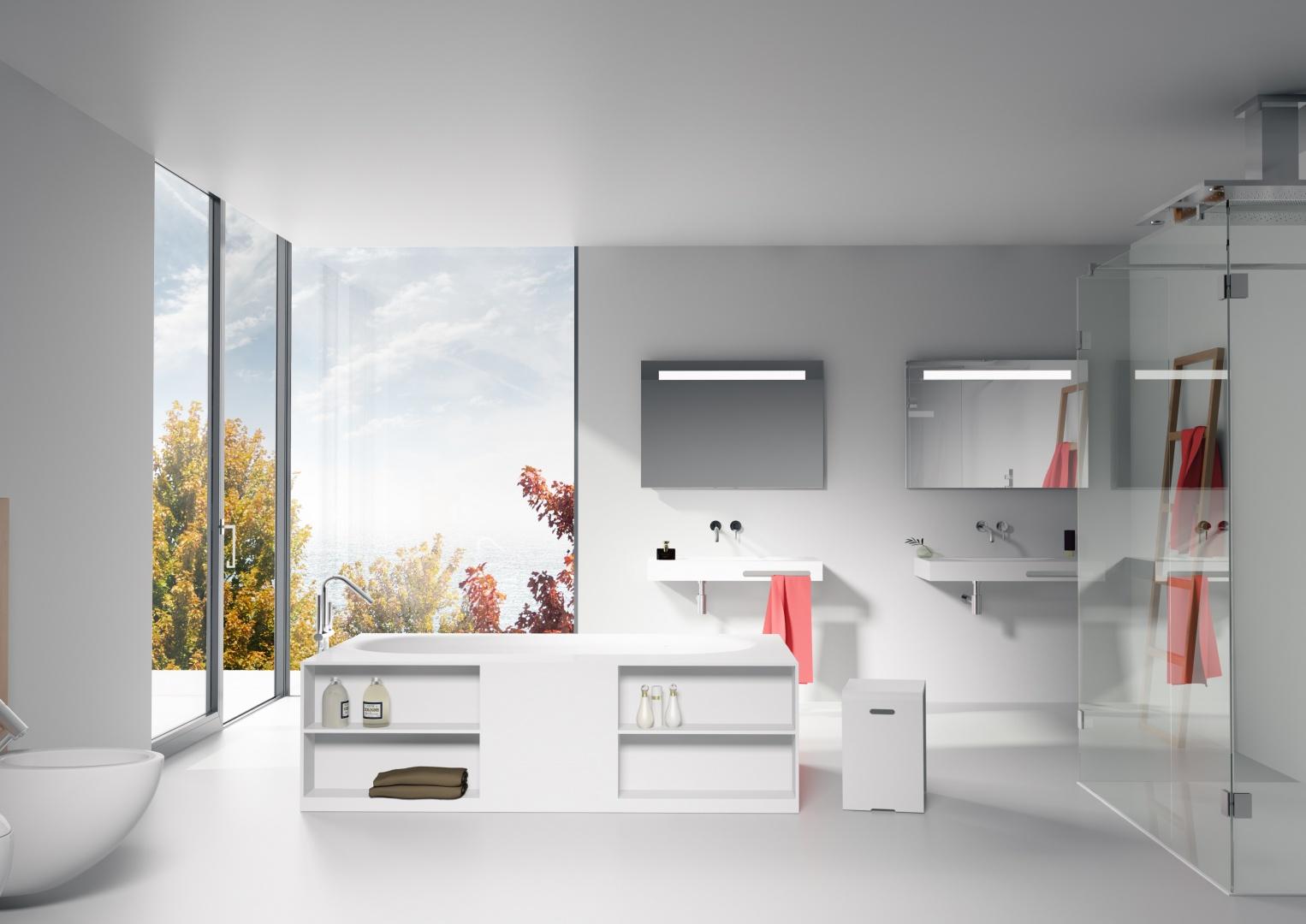 Biała łazienka to bardzo modne rozwiązanie. Na zdjęciu umywalka Lorient marki Riho, z praktycznym rozwiązaniem na ręcznik, z serii Solid Surface. Fot. Riho