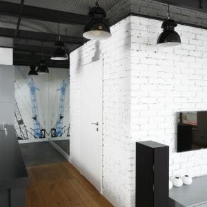 Na ścianie przy samym wejściu do mieszkania umieszczono fototapetę z industrialnym motywem. Proj. wnętrza Monika i Adam Bronikowscy, Hola Design. Fot. Bartosz Jarosz.