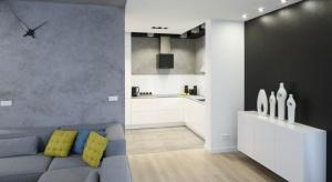 Szary kolor w kuchni będzie dobrze prezentował zarówno jako kolor wszystkich ścian, jak i tej nad blatem.