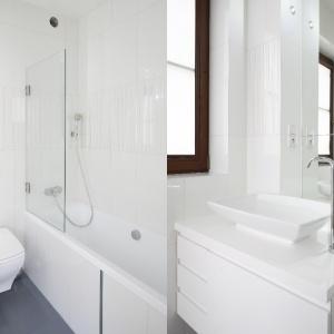 Parawan nawannowy pozwoli korzystać także z prysznica w małej łazience wyposażonej jedynie w wannę. Z kolei duże lustro dodaje wnętrzu głębi.  Proj. Kamila Paszkiewicz. Fot. Bartosz Jarosz