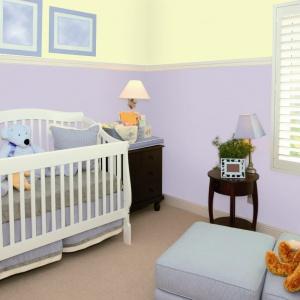 Pokój dziecka w kolorach młody kabaczek i wonna lawenda.  Fot. Jedynka