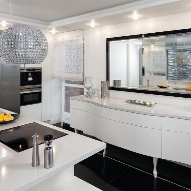 Gotowy projekt kuchni w stylu glamour
