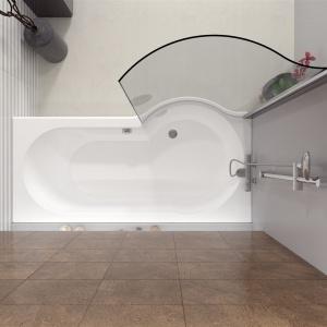 Wanna akrylowa asymetryczna DORADO z parawanem, 170x75(90) cm. Marka Riho, fot. materiały prasowe.