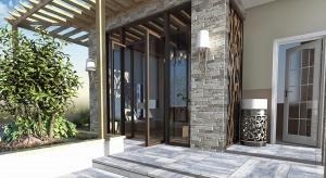 Płyty betonowe o dużych wymiarach stanowią charakterystyczny element wykończenia podjazdów i ścieżek wokół domów w stylu modernistycznym i minimalistycznym.