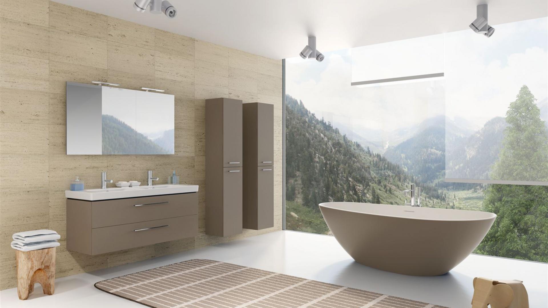 Wanna Granada z serii Solid Surface, wymiary 170x80 lub 190x90 cm, możliwy dowolny inny kolor na zewnątrz wanny. Produkt marki Riho, fot. materiały prasowe.
