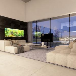 Przestrzeń poszczególnych pomieszczeń wypełnia biel, różne odcienie szarości oraz kontrastująca czerń.
