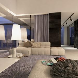 Salon to wspólna strefa domowników. Został urządzony w bieli, czerni, z dodatkiem beżu.