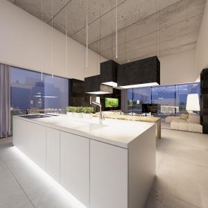 Salon kuchnia i jadalnia stanowią jedną otwarta przestrzeń.