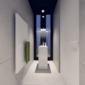 Ściana z wąskim oknem i czarna ramą daje efekt głębi.