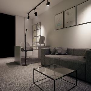 Strefa pracy jest połączona ze strefą odpoczynku, co pozwala na komfortowe funkcjonowanie.
