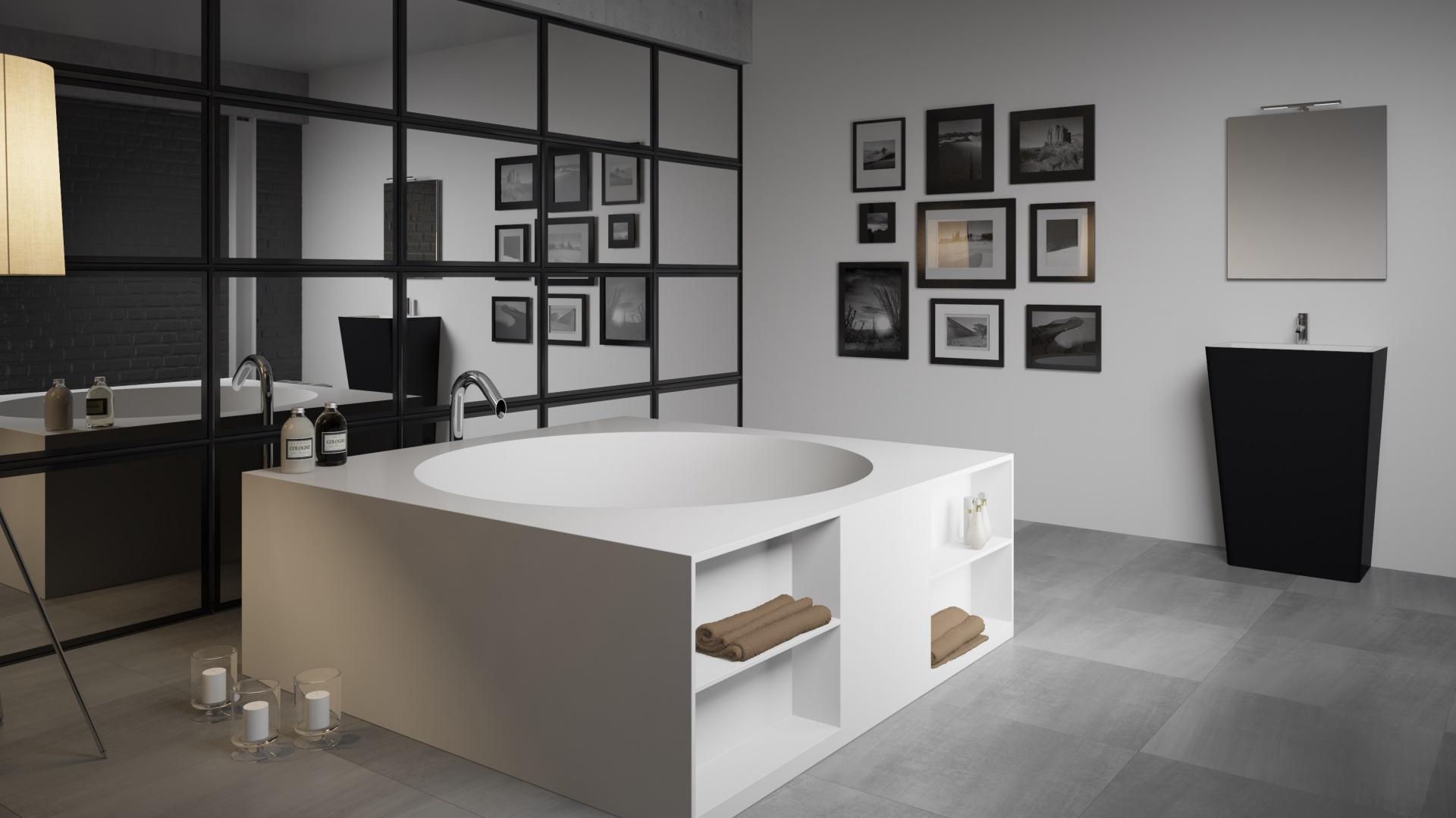 Wanna Tarragona z serii Solid Surface, wymiary 170x170 cm, umywalka wolnostojąca Dijon z serii Solid Surface, wymiary 60x44 cm, w kolorze czarnym (możliwy dowolny inny kolor). Fot. Riho.