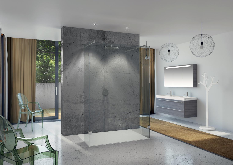Beton coraz częściej pojawia się także w łazienkach - jeśli zestawimy go z prostym nowoczesnym wyposażeniem, osiągniemy świetny efekt. Na zdjęciu: kabina prysznicowa Scandic S202, płaski brodzik Basel marki Riho, fot. materiały producenta.