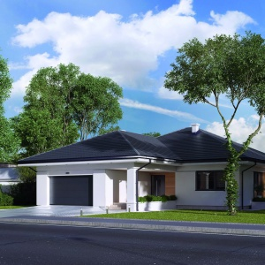 Biały tynk w duecie z grafitowym dachem sprawiają, że dom prezentuje się nowocześnie również z zewnątrz. Fot. MTM Styl