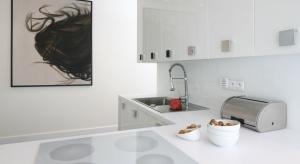 Ściana nad blatem to najbardziej newralgiczny punkt w całej kuchni.W roli zabezpieczenia doskonale sprawdzi się dekoracyjne szkło.