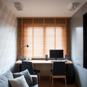 Gabinet, z pojemną szafą na dokumenty i dwustanowiskowym biurkiem, został zaprojektowany w ciemniejszych, stonowanych kolorach, by sprzyjać koncentracji podczas pracy. Fot. Adam Ościłowski