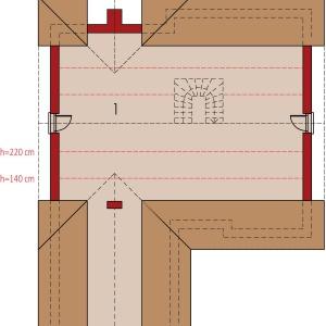 Rzut poddasza: 1. Poddasze do adaptacji 50.20 m2