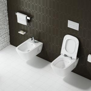 Nowość w serii MODO: miska WC w technologii Rimfree®. Woda spłukująca ze specjalnie zaprojektowanej dyszy jest precyzyjnie rozprowadzana po całym wnętrzu bezkołnierzowej misy zapewniając maksymalną czystość. Ok. 860 zł. Fot. Koło