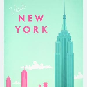 Jak pocztówka z przeszłości: plakat NEW YORK w stylu vintage z panoramą Nowego Jorku inspirowany dawnymi plakatami podróżniczymi; drukowany przy użyciu ekologicznych, bezwonnych tuszy pigmentowych; 29,7x42 cm, 39 zł. Fot. Pakamera