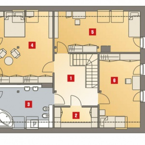PODDASZE: 1. hol - 10,20 2. garderoba - 4,10 3. łazienka - 13,00 4. pokój - 23,00 5. pokój - 18,30 6. pokój - 17,00