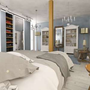 Przestronna sypialnia, utrzymana w stylu eklektycznym stanowi idealne miejsce do wypoczynku. Projekt: arch. Maja Klimowicz, Fot. Archeco Dom dla Ciebie