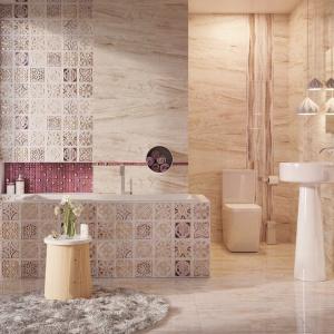 Kolekcji glazury DALILA towarzyszy dekor PALAZZO wykończony prawdziwą miedzią z misternie wykonanym patchworkowym wzorem. Ok. 147,06 zł/m² (glazura 90x30 cm), ok. 118,93 zł/m² (gres 60x60 cm), ok.130,61 zł/m² (dekory). Fot. Ceramstic