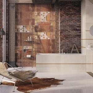 Wielkoformatowe płytki ścienne IMPRESSIVE w malarskim wydaniu: przyjemne, ciepłe barwy, ciekawy rysunek oraz robiący wrażenie dwuelementowy dekor. Ok. 114,70 zł/m² (90x30 cm). Fot. Ceramstic