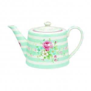 Zabawna i niezwykle kobieca, a przy tym wyszukana: kolekcja ceramiki i akcesoriów MARIE & SPOT to esencja lata: dzbanek na herbatę w pastelowe pasy zdobi piękny motyw kwiatowy. Fot. Greengate