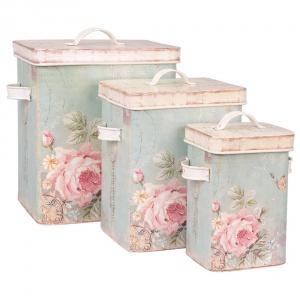 Zestaw 3 blaszanych pojemników CLAYRE w pastelowych kolorach: każdy ozdobiony subtelnym kwiatowym wzorem. Fot. Bonami