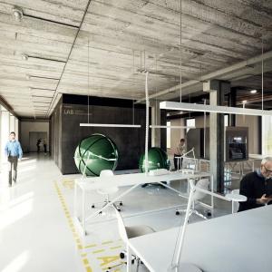 Projekt adaptacji byłej stołówki wojskowej na obiekt biurowy Kanlux. Fot. Medusa Group.
