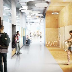 Projekt budynku liceum ogólnokształcącego przy ulicy Świętej Urszuli Ledóchowskiej w Warszawie. Fot. Medusa Group.