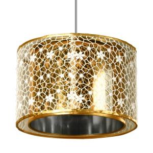 Do wykonania urzekającej lampy BAGLIORE ORO wykorzystano tworzywo sztuczne oraz tkaninę; średnica 30 cm. Fot. Spot Light