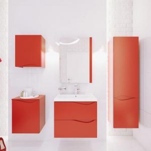 Zestaw mebli łazienkowych Murcia w kolorze gorącej czerwienie. Fot. Defra