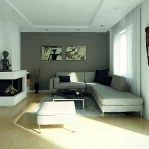 Klasyczny jasny salon ociepla słomkowa podłoga z drewna bukowego. Proj. Cyprys 3, Fot. Biuro Projektów MTM Styl