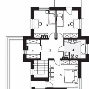 PIĘTRO: 1. garderoba - 5,30 2. komunikacja - 11,50 3. sypialnia - 16,70 4. łazienka -  8,40 5. sypialnia - 12,00 6. sypialnia - 12,30