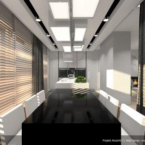 Czarno-białe wyposażenie kuchni nadaje jej wyjątkowej elegancji. Projekt: Aksamit 2, arch. Tomasz Sobieszuk, Biuro Projektów MTM Styl