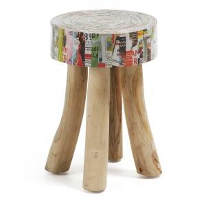 Stołek DUNEE z drewna i papieru z recyklingu, nadadzą wnętrzu indywidualny charakter.1.137 zł. Fot. La Forma