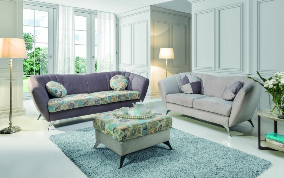Zestaw eleganckich sof 3, 2 i pufy Vittorio/Stagra Meble