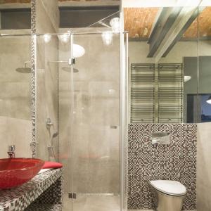 Styl łazienki jest kombinacją matowej szarości betonowych ścian i połyskującej mozaiki z motywem czerwieni. Fot. Bartosz Jarosz
