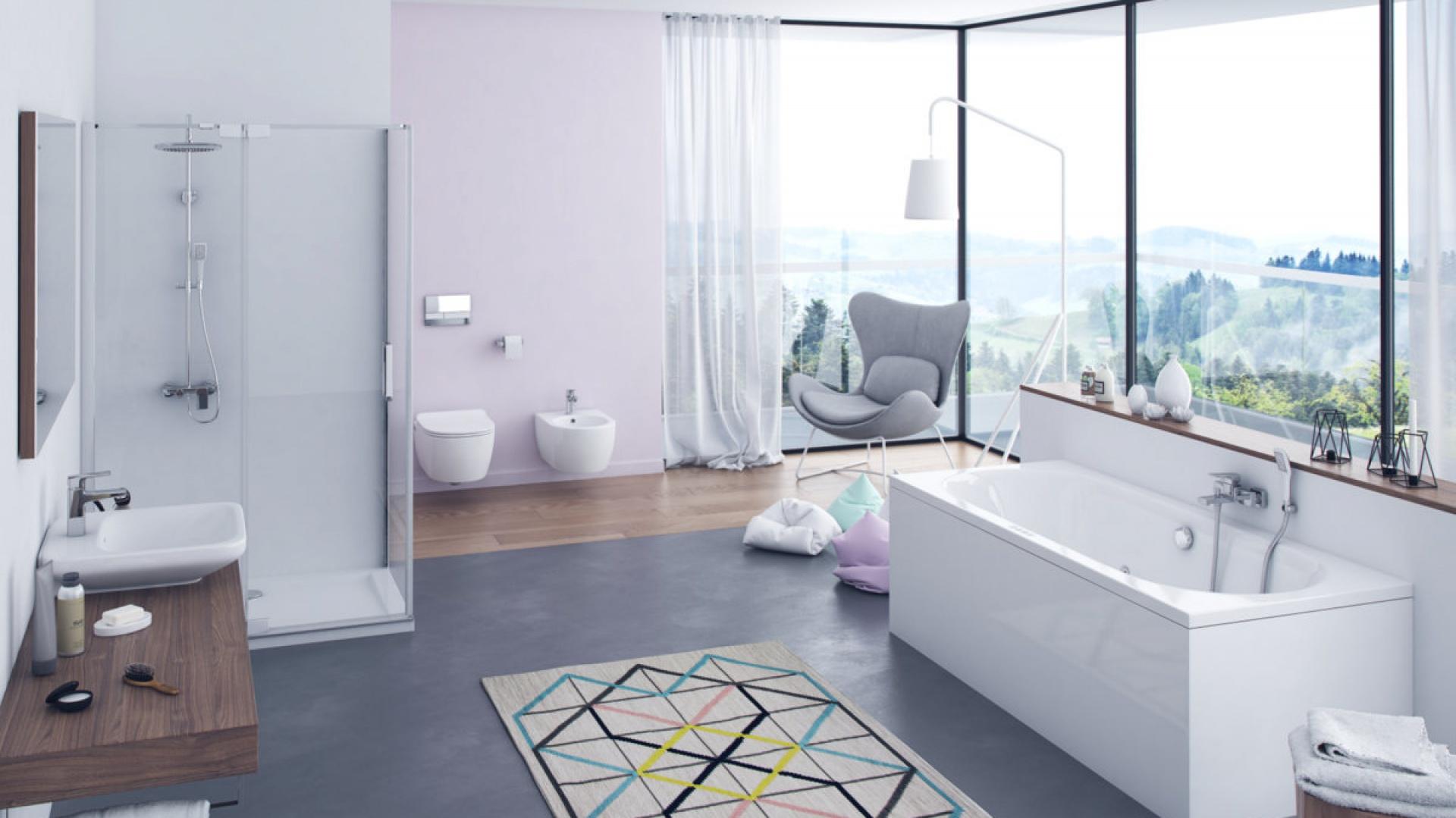 Wanna akrylowa Oceana, ceramika DOTO, kabina prysznicowa Colors, zestaw prysznicowo wannowy Rain Altar White. Fot. Excellent
