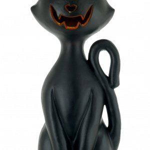 Gdy do środka wstawisz lampkę, oczy glinianego, czarnego kota LIGHT UP CAT zaświecą się na pomarańczowo, a figurka zmieni się w straszną dekoracją. Ok. 68 zł. Fot. Sainsbury's Home