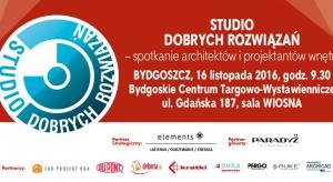 Studio Dobrych Rozwiązań po raz pierwszy odwiedzi kujawsko-pomorskie. Zapraszamy 16 listopada do Bydgoszczy na spotkanie z dobrym wzornictwem, oryginalnymi pomysłami oraz cenionymi architektami, których prace inspirują całą branżę. Zajmujecie si�