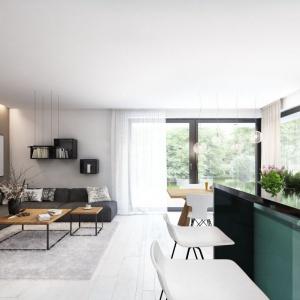 Nowoczesne wnętrze ocieplają głównie drewniane meble, które pięknie korespondują z podłogą w kolorze bielonego drewna. Zastosowane materiały są ponadczasowe, a wymiana drobnych elementów dekoracyjnych pozwoli na modne urządzenie wnętrza o każdej porze roku. Projekt: Tris II, Fot. Dobre Domy