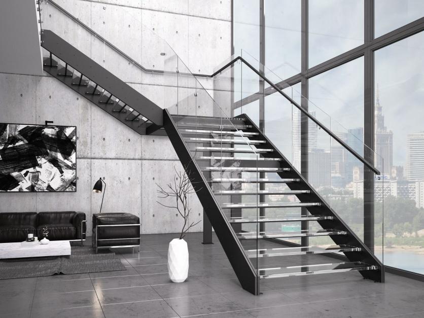 Schody Futura Duo, oparte na konstrukcji metalowej, malowanej proszkowo na kolor czarny, ze stopniami i balustradą wykonaną ze szkła (cena ok. 140 tys. brutto w ramach promocji obowiązującej w listopadzie 2016 r.). Fot. Rintal Polska
