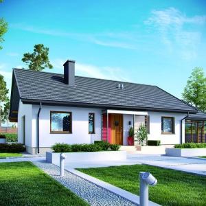 Prosta bryła budynku pozwala na uzyskanie dobrych parametrów energooszczędności. Projekt: Kornel VI (z wiatą) ENERGO, Fot. Pracownia Projektowa Archipelag