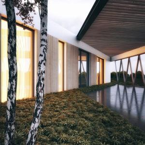 Biel drewno i stal tworzy w tym projekcie idealne połączenie. Projekt: 81.waw.pl. Wizualizacja: Michał Nowak