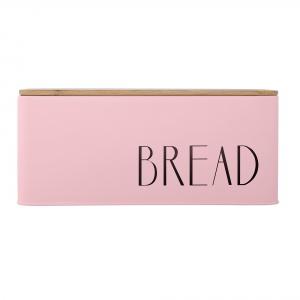 Metalowy chlebak w pastelowym odcieniu różu z drewnianą przykrywką z kolekcji BLOOMINGVILLE. 135 zł. Fot. Bloomingville